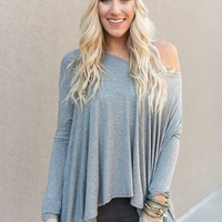 Flare Hem Long Sleeve Top - Gray