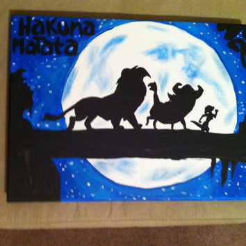 Disney's The Lion King Inspired 9x12 Canvas Painting Hakuna Matata Simba Timon and Pumbaa