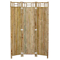 Real Bamboo 3-Panel Room Divider Asian Shoji Screen Style Design