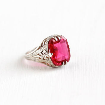 Antique Art Deco Sterling Silver Simulated Ruby Ring - Vintage 1920s Size 3 Pink Red Glass Stone Filigree Pinky Ring July Birthstone Jewelry