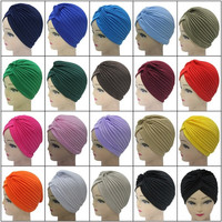 Hot Sale India Caps Headband Hijab Turban Dual Purpose Solid Pleated Women Kerchief Headwear Shower Hat NXH01117 = 1958082116