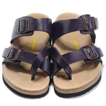 Birkenstock Leather Cork Flats Shoes Women Men Casual Sandals Shoes Soft Footbed Slippers-27