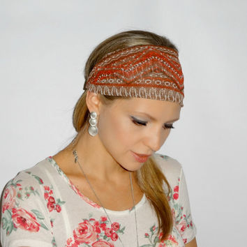 Brown and red Aztec print hair scarf, Head wrap ,trendy, hair band,headband