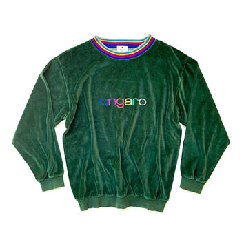 EMMANUEL UNGARO!!! Vintage 1980s unisex 'Ungaro' emerald green velour sweatshirt with rainbow ribbed neck and front logo embroidery