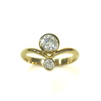Offset Duo Moissanite Engagement Ring - Yellow Gold - Two Stone Ring - Minimalist Chevron Ring - Forever One