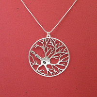 Neuron necklace- circle pendant- sterling silver necklace