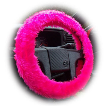 Barbie Pink steering wheel cover with matching mirror cover Hot faux fur furry fuzzy fluffy car