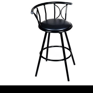 Weatherproof Padded Outdoor Bar Stool - Black
