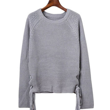 Casual Long Sleeve Hem Lace Knit Sweater for Ladies