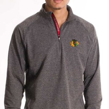 Levelwear Chicago Blackhawks Metro Quarter Zip Pullover Jacket - Grey