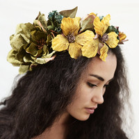 Citron Yellow Moss Magnolia Flower Crown, Vintage Velvet Flower Crown, Floral Crown, Flower Headpiece, Tropical, Oversized Headpiece