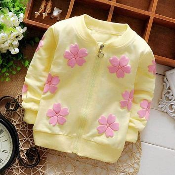 Spring Autumn Baby Babi Printed Flower Girls Princess Long Sleeved Outwear Coat Jackets Cardigan Kid's Coats S2715