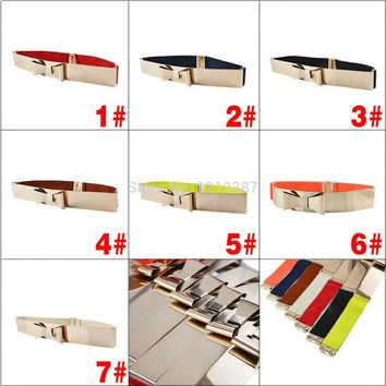 VONESC6 Fashion Women Golden Metal Bling Shiny Skinny Elastic Belt With Bowknot Style 7 Colors HB88