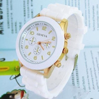 Men Women Unisex Analog wrist Silicon Sport Watches White