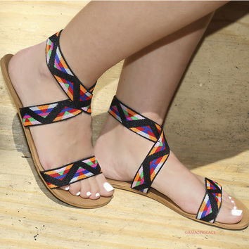 Something New Black Tribal Sandals