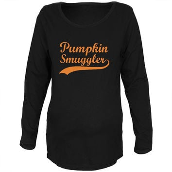 Halloween Pumpkin Smuggler Black Maternity Soft Long Sleeve T-Shirt