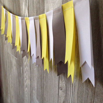 Mini Ribbon Garland, Yellow Gray White Birthday Garland, Party Decoration, Room Decoration, Nursery Decor, Baby Shower, Party Decor