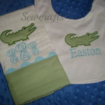 Personalized Bib and Burp Cloth with Alligator applique - Name and/or up to 3 Monograms