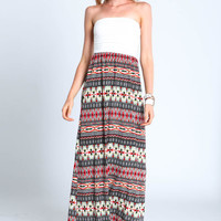 TAUPE TRIBAL MAXI DRESS