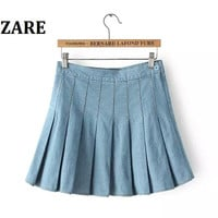 Summer Women's Fashion Mosaic High Rise Denim Pleated Dress Skirt [4920001732]
