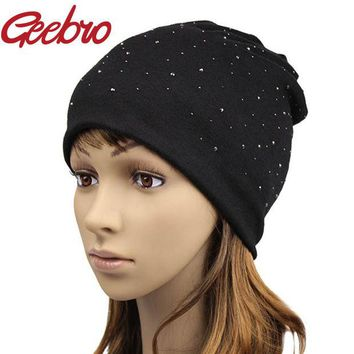 DCCKWQA Geebro Solid Autumn Winter Women Knitted Hat Girls Warm Rhinestone Sequins Diamond Cap Female Slouchy Beanies & Skullies JS254