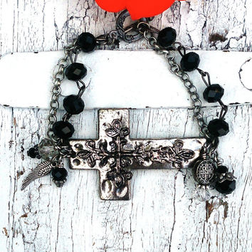 Aged Cross Cuff | Sideways Cross Bracelet | Religious Bracelet | CrOss Cuff BrAcElEt | Christian Jewelry | Horizontal CrOss | Black Crystals