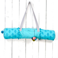 Block Print Yoga Bag- Turquoise Blue. Fair Trade.