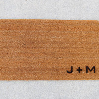 "Personalized Initial Doormat / Welcome Mat - 18x30"" made from natural coir"