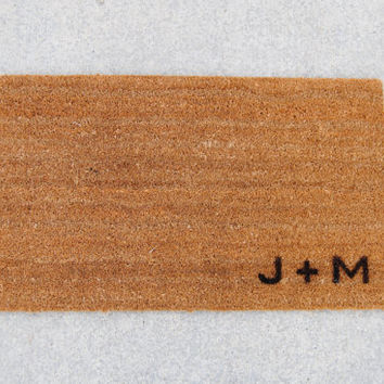 """Personalized Initial Doormat / Welcome Mat - 18x30"""" made from natural coir"""