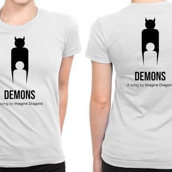 CREYH9S Imagine Dragons Demons Cover B 2 Sided Womens T Shirt