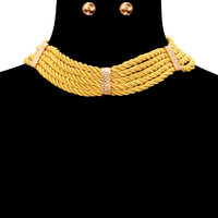 """15"""" cord rope braided collar choker necklace statement earrings"""