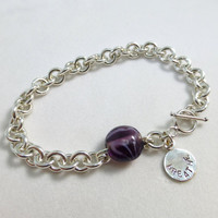 Cystic Fibrosis Sterling Silver Linked Bracelet with Breathe Charm