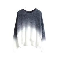 Grey Gradient Knitted Sweater with Fluffy Mohair Batwing Sleeve Round Neck Loose Fit Pullover