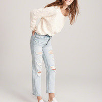 Womens High Rise Ankle Straight Jeans | Womens Bottoms | Abercrombie.com