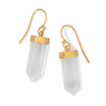 14 Karat Gold Plated Clear Quartz Drop Earrings