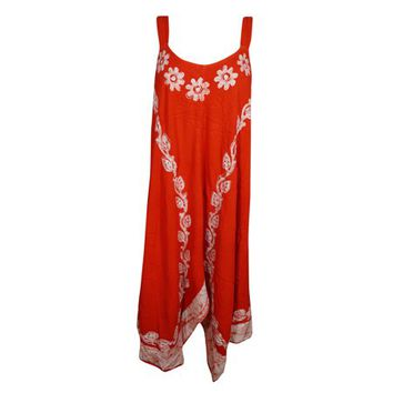 Mogul Womens Sexy Hot Red Tank Dress Rayon Loose Fit Flared Summer Sleeveless Umbrella Beach Wear Batik Embroidered Casual Sundress - Walmart.com