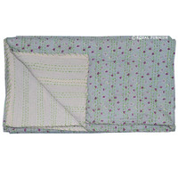 Light Pink Queen Size Small Flower Print Kantha Quilt Blanket Bedding on RoyalFurnish.com