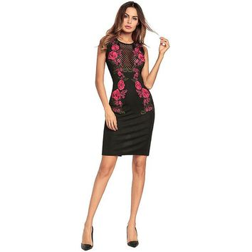Black Fitted Embroidered Dress