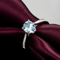 1.10ctw Pear Shaped Cut Aquamarine Engagement ring,VS Diamond wedding band,14K Gold,Gemstone Promise Bridal Ring,IF Blue,Women Ring