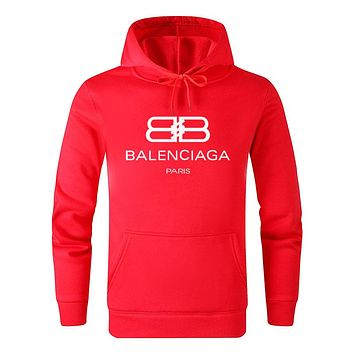 BALENCIAGA Autumn Winter Popular Casual Print Cotton Sweatshirt Hoodie Sweater Pullover Top Red