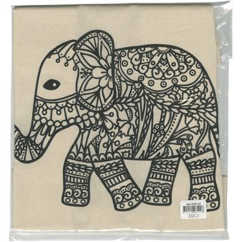 Stamped Canvas Tote To Color-Elephant