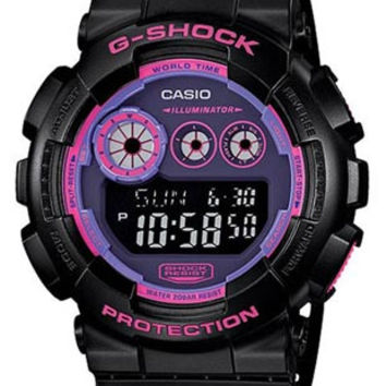 Casio G-Shock Big Case with Flash Alert - Black Case and Strap with Pink Accents
