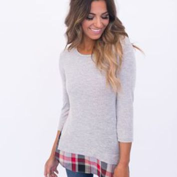 Plaid Hem Sweater