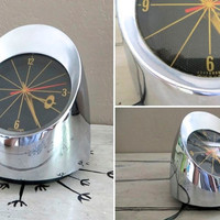 Jefferson 500 Clock Space Age Clock Atomic Clock Atomic Era Chrome Clock Retro Clock Sputnik Decor Outer Space Electric Clock Desk Clock