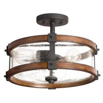 Shop Kichler Lighting Barrington 14.02-in W Distressed Black and Wood Clear Glass Semi-Flush Mount Light at Lowe's
