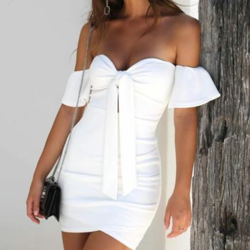 2018 Sexy Strapless Short Sleeve Dress