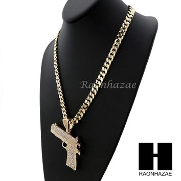 HIP HOP ICED OUT L HAND GUN PENDANT & DIAMOND CUT CUBAN LINK CHAIN NECKLACE NN44