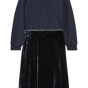 Cédric Charlier - Convertible cotton-jersey and velvet hooded midi dress