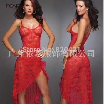 Fcare Summer Hot big size  S-6XL dress+g string sexy lingerie long lace nightgown home suspenders long
