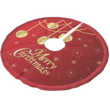 Merry Christmas in Red & Gold Ornaments Brushed Polyester Tree Skirt